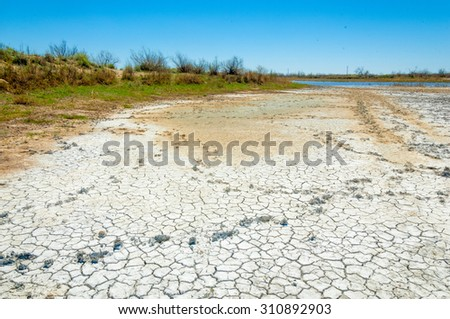 desert, wilderness, waste, sands, wilds, sahara. texture of dry land. Dry cracked earth background. land with dry cracked ground. Land with dry and cracked ground.  - stock photo