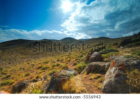 desert with blue sky - stock photo