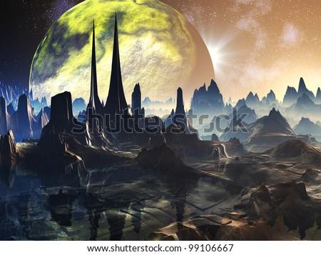 Deserted Alien Ruins on Distant Planet - stock photo
