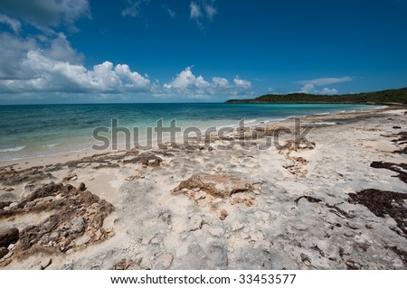 Deserted beach looking toward Caribbean ocean. - stock photo
