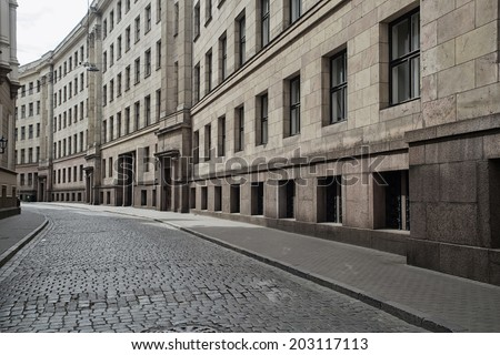 Deserted city street. Europe. - stock photo