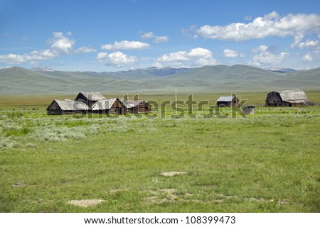 Deserted ranch in Centennial Valley, Lakeview, Montana - stock photo