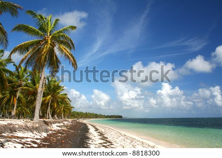 Deserted tropical beach,  Punta Cana, Dominican Republic - stock photo