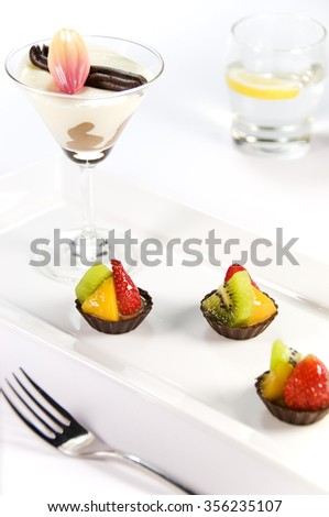 Deserts and Sweets on White Background - stock photo