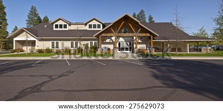 Deshutes public library in Sisters Central Oregon. - stock photo
