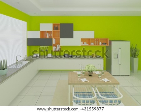 Design a comfortable kitchen with a green tint, 3d rendering. - stock photo