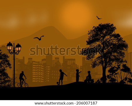 Design background with beautiful landscape and children playing silhouette  - stock photo