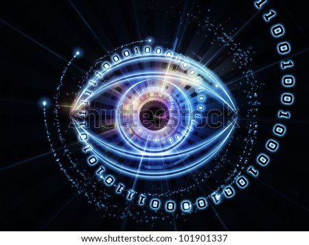 Design composed of eye outlines, numbers, fractal and abstract design elements as a metaphor on the subject of modern technologies, artificial intelligence, virtual reality and digital imaging - stock photo