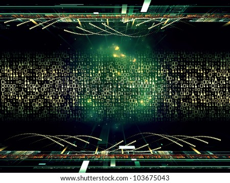 Design composed of fractal grids, lights  and technological elements as a metaphor on the subject of science, computing and modern technologies - stock photo