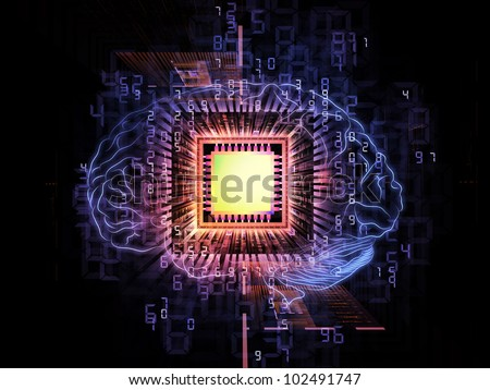 Design composed of head outlines, computer chip, numbers on the subject of thinking, logic, computing and brain power - stock photo