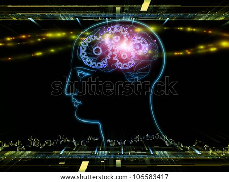 Design composed of head outlines, lights and abstract design elements as a metaphor on the subject of intelligence,  consciousness, logical thinking, mental processes and brain power - stock photo