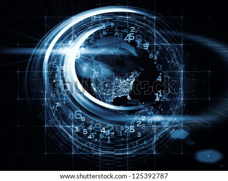 Design composed of light trails, satellite imagery (courtesy of NASA) and technological elements as a metaphor on the subject of science, progress and global technologies - stock photo