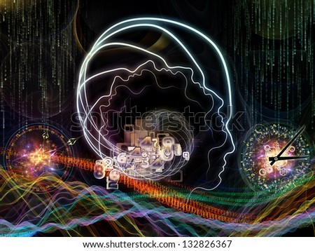 Design composed of lines of human head, fractal grids and technology related symbols as a metaphor on the subject of artificial intelligence, science, education and technology - stock photo