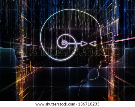 Design composed of outlines of human head, technological and fractal elements as a metaphor on the subject of artificial intelligence, computer science and future technologies - stock photo