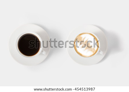 Design concept of mockup assortment coffee set isolated on white background. Clipping Path included on white background. - stock photo