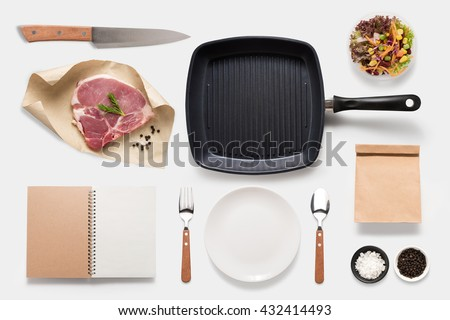 Design concept of mockup bbq steak set isolated on white background. Copy space for text and logo. Clipping Path included isolated on white background. - stock photo