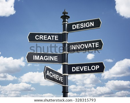 Design, create, innovate, imagine, develop and achieve motivational direction signpost - stock photo