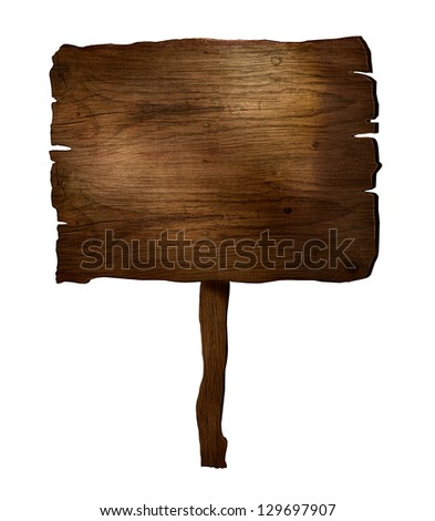 Design elements. 3D wooden plank sign. Rustic wood board - stock photo