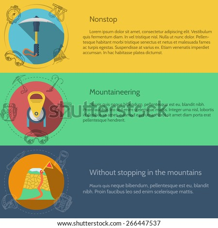 Design elements for equipment and accessory for rock climbing and mountaineering on colored backgrounds with sample text for your business or website. - stock photo