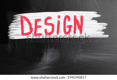 design handwritten with chalk on a blackboard - stock photo