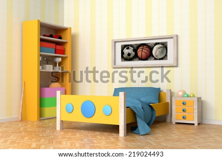design in 3d of an orange and blue kids room - stock photo