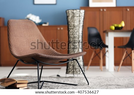 Design interior of living room with comfortable chair - stock photo