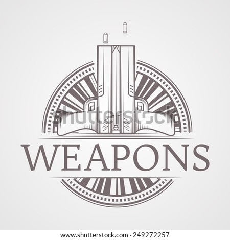 Design logotype with gray vintage line style two traumatic pneumatic guns. Round icon for self defense with word Weapons for some business or website on gray background. Logo - stock photo