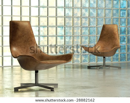Design lounge chair in abstract studio interior (3D render) - stock photo