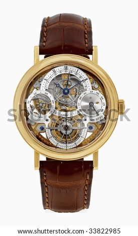 design luxury gold man watch with calendar and  tourbillon on a leather belt isolated on white background - stock photo