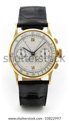 design luxury gold man watch with calendar on a leather belt isolated on white background - stock photo