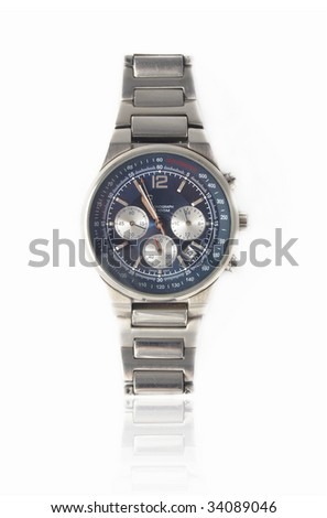 design luxury man watch with calendar on a steel belt isolated on white background - stock photo