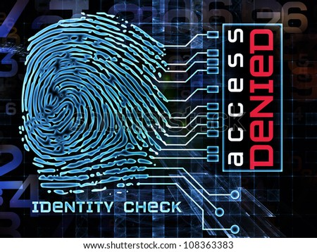 Design made of fingerprint graphic, numbers and abstract elements to serve as backdrop for projects related to security, encryption, on-line access - stock photo