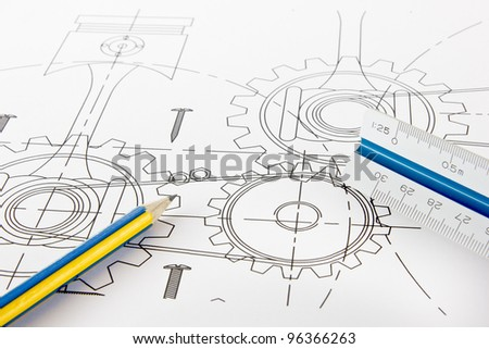 Design mechanical drawing and drawing instruments. - stock photo