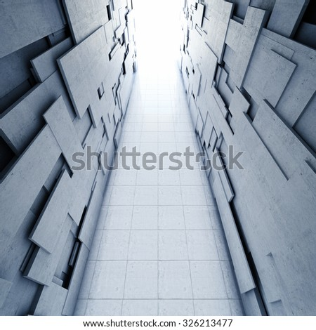 Design of architectural concrete tunnel and the light at the end - stock photo