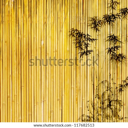 design of chinese bamboo trees with texture - stock photo