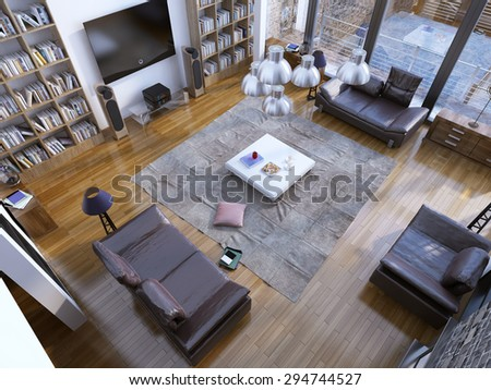 Design of contemporary living room with home library and white low table on the center. 3D render - stock photo