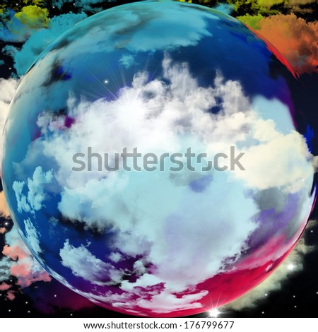 Design of earth with clouds and colors of dream, imagination, fantasy and abstract art background - stock photo