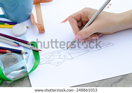 Design of fashion sketch - stock photo