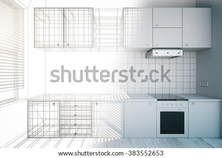 Design of new white kitchen interior with blueprint, 3D Render - stock photo