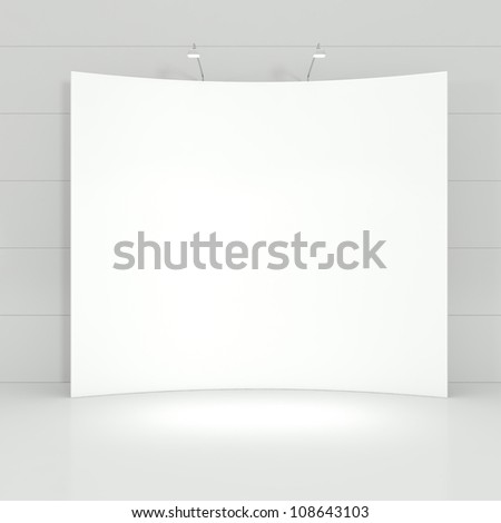 Design of Stand for Business Presentation in a White Empty Interior - 3d illustration - stock photo
