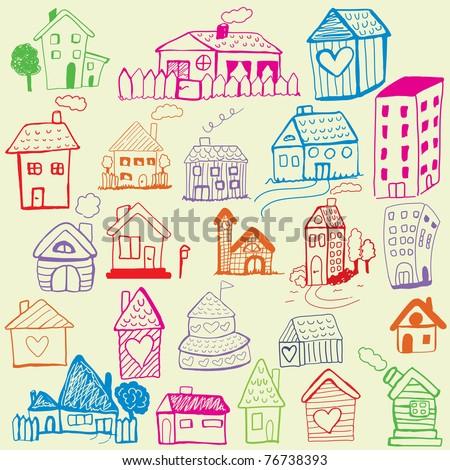 Design set: Child Like Drawn Houses - stock photo