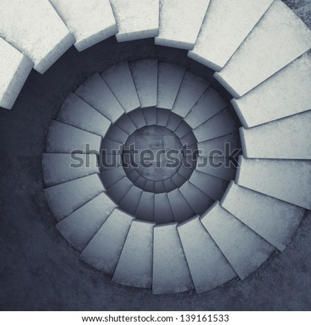 Design spiral staircase made of concrete - stock photo