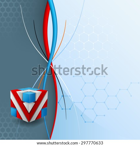 Design template for abstract technology background; Three dimensions cubes artistic designed with geometric shapes, on hexagonal backdrop  - stock photo