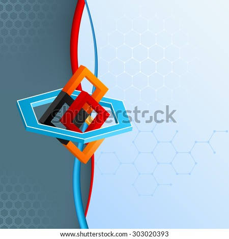 Design template for abstract technology background; Three dimensions geometric arrangement with squares and hexagons artistic designed and space for text - stock photo