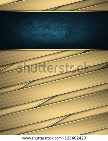 Design template - Gold braided texture with golden edges and blue nameplate - stock photo