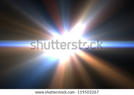 Design template - Star, sun with lens flare. Rays background. - stock photo