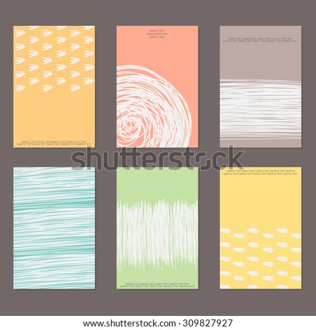 design templates. Set of Vintage Creative Cards with Hand Drawn Hipster Textures Made with Ink. Background. Retro Patterns for Placards, Flyers, Posters and Banner Designs. - stock photo
