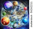 Design with mysterious composition with planets, digital picture - stock photo