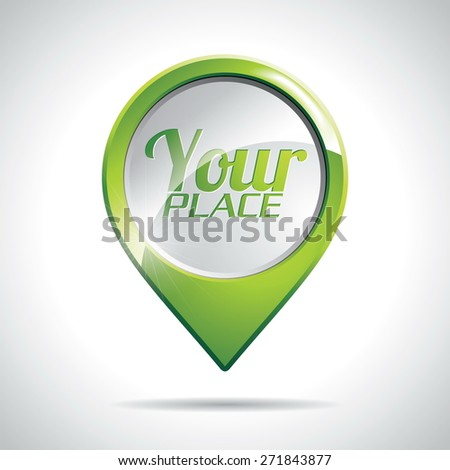 Design with round Map Pointer Icon on a clear background. JPG version. - stock photo