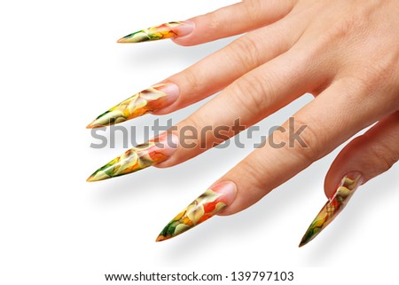 Design women's nails.Isolated on white background. - stock photo
